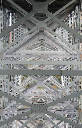girders: Pattern of steel girders supporting a bridge Stock Photo