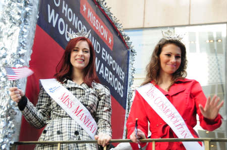 manhattan project: Miss Manhattan 2014 (Kristen Stilwell), and Miss Cosmopolitan 2014 (Stephanie Meadowcroft), representing the Wounded Warriors Project at the New York City  Veterans Parade, Nov. 11th 2014. Editorial