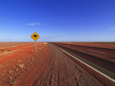 outback australia: Kangaroo Sign along the Stuart Highway  Stock Photo