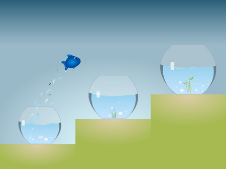 goldfish jump: Aquarium Advancement Illustration