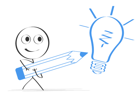 Person drawing light bulb