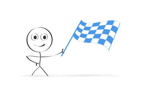 Person swaying chequered flag  イラスト・ベクター素材