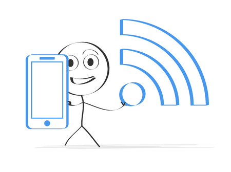 Illustration of man with Smartphone and WLAN sign