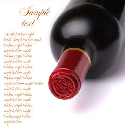 wine cork: bottle of wine isolated on white background