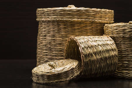 handcrafted: wicker containers for storage compartment