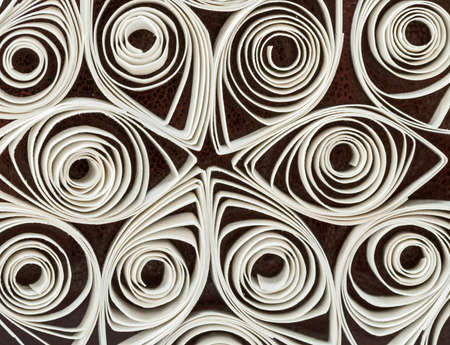 laid: rolls of paper are laid out patterned Stock Photo