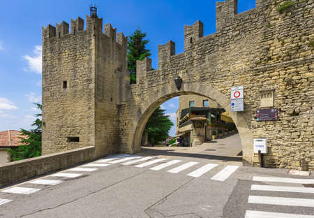 landscape flowers: Rocca della Guaita, the most ancient fortress of San Marino, Italy. Stock Photo