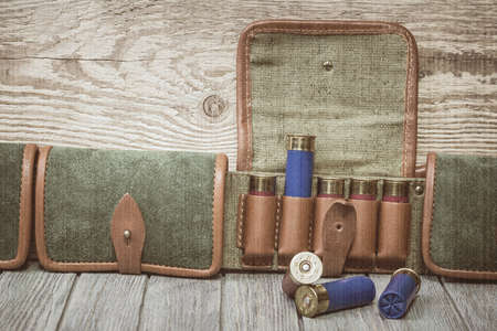 sports shell: Cartridges hunting ammunition. Old style, sepia