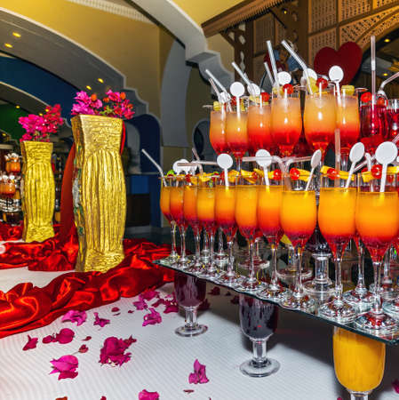 nonalcoholic: Non-alcoholic cocktails in one of the hotels in Egypt: Valentines Day.