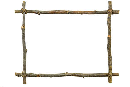cadre: Frame of wooden twigs isolated