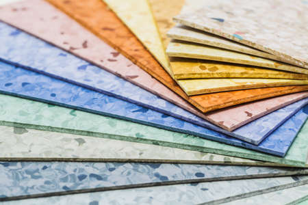 linoleum: The samples of collection natural linoleum Stock Photo