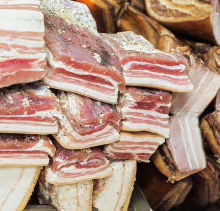lard: pieces of raw pork lard background, close-up
