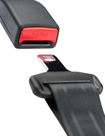 fastened: Fastened seat belt. on white background.