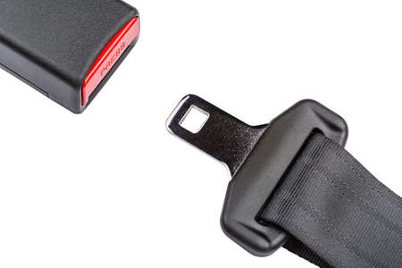 seat belt: Fastened seat belt. on white background.