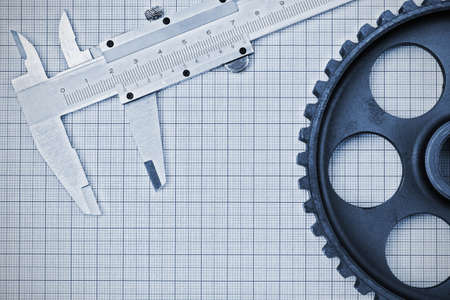 machine tool: Technical subject is on the background millimeter paper Stock Photo