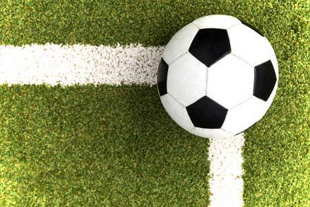 ballsport: soccer ball on a soccer field Stock Photo