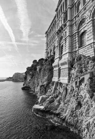 oceanographic: View of Oceanographic Museum of Monaco. Monte Carlo. Old style, black - white photo. Stock Photo