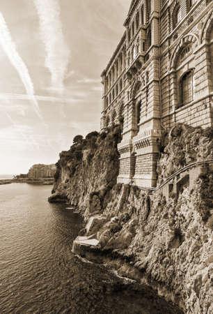oceanographic: View of Oceanographic Museum of Monaco. Monte Carlo. The Old style sepia.