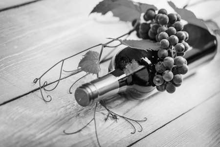 tartaric: The composition of tartaric paraphernalia, on the topic the wine. Old style, black - white photo. Stock Photo