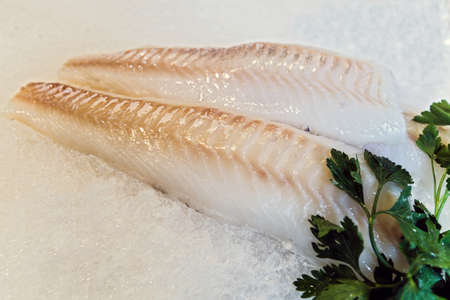 chilled out: Fresh chilled out fillets of white fish on the counter of ice