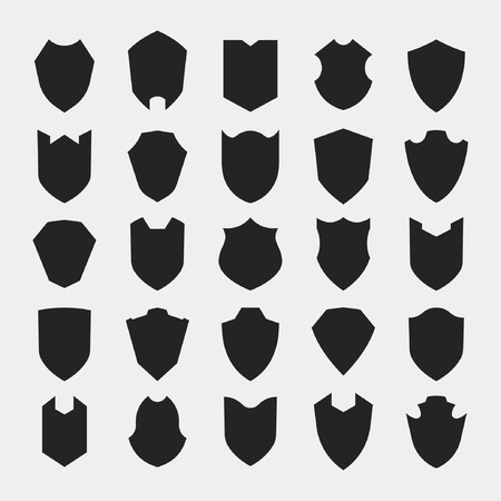 25 Collection of shields silhouette of Medieval era. Broad piece of defensive armor carried on the arm to protects or defends. A device or part that serves as a protective cover or barrier. Imagens - 96697257