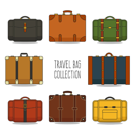 Flat Travel Bag Collection 向量圖像