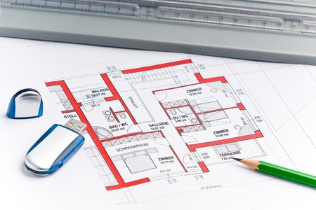 plan of a house with an usb stick Stock Photo