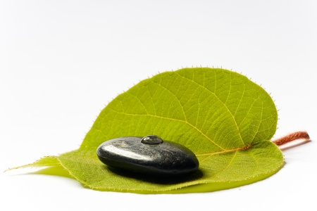 black spa stone with a drop on a green leaf on white ground photo