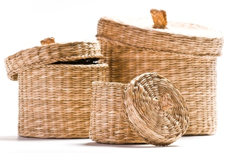 three brown baskets isolated on white ground Stock Photo