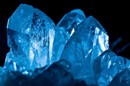 white blue shining rock mountain crystall quarz Stock Photo