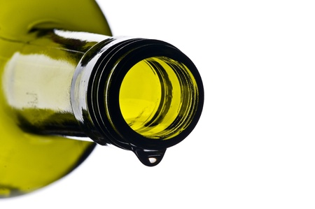 white wine bottle: green wine bottle with drop isolated on white ground