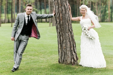 bride and groom couple celebrating their wedding