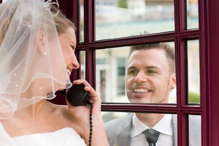 bride and groom couple celebrating their wedding photo