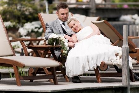 bride and groom couple celebrating their wedding Stock Photo - 14615784
