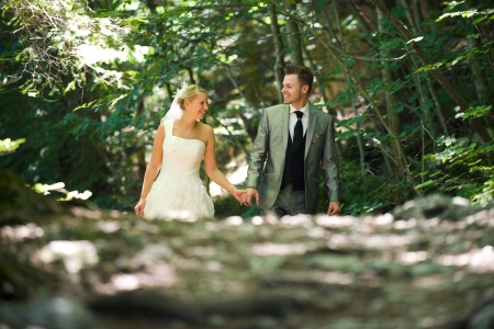 bride and groom in the nature trash the dress Stock Photo