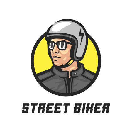A man in a white helmet. This design is suitable for the needs of the street motorcycle community and all that