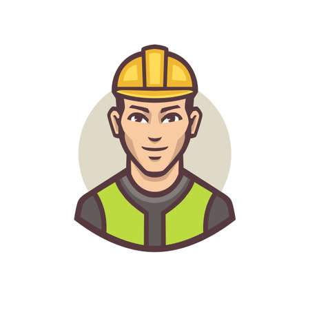 Builder Contractor Vector Image. People Profession Icon Concept Isolated Premium Vector. Cute Cartoon Style.