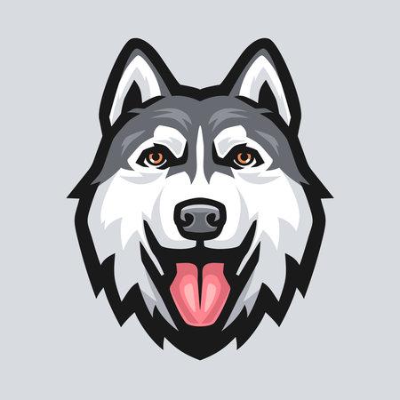 Siberian husky head mascot template. Dog vector Illustration. Векторная Иллюстрация