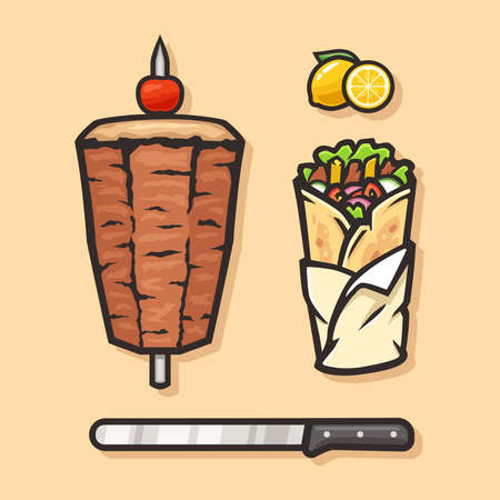 Vector set of doner kebabs with tomato, lime and knife. Cuisine vector image.