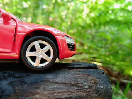 Sports red toy car parked in a forest green area. Close-up