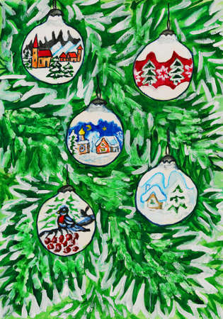 Hand painted Christmas postcard, watercolours - balls with painted pictures on firtree. Stock Photo - 11512153