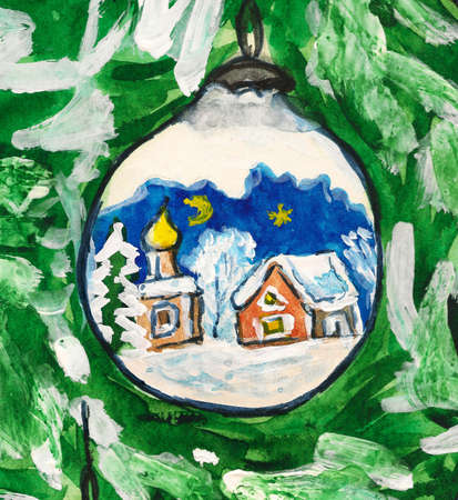 Hand painted Christmas postcard, watercolours - ball with painted picture on firtree. Stock Photo - 11512155