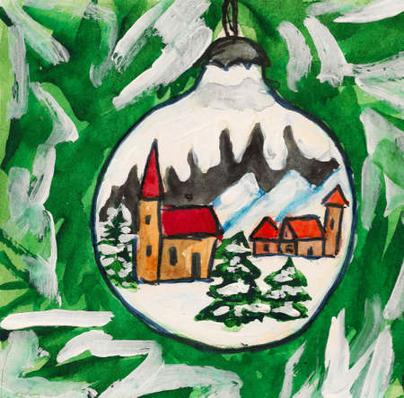 Hand painted Christmas postcard - ball with painted picture on fir-tree. Stock Photo - 11512154