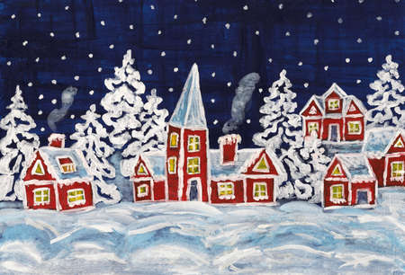 Hand painted Christmas picture with red houses. photo