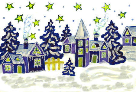 Hand painted Christmas picture in blue and white colours. photo