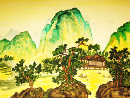 Hand drawn picture, in traditions of Chinese painting, watercolour. Landscape - mountains, trees and houses. Stock Photo