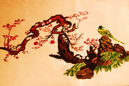 Hand drawn picture, watercolour, in traditions of Chinese painting - bird on the branch in blossom with flowers.