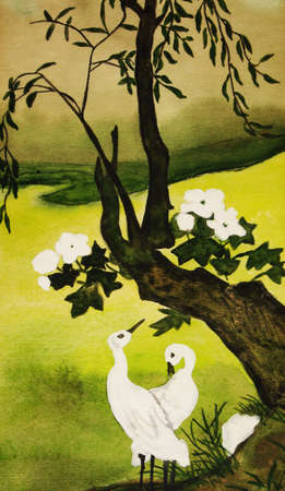 Hand drawn painting in traditions of old Chinese art: two white birds and tree. photo