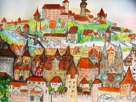 Hand drawn picture, watercolour painting, town Nuremberg in Germany.