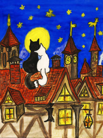 Picture - two cats siting on the roof in old town. Hand drawn painting, gouache. Can be used as St. Valentines day postcard.